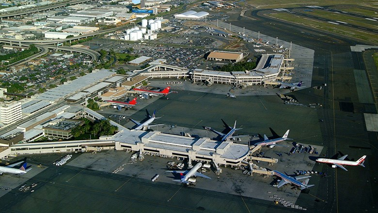 The Hawaii legislature approved $90 million in funding to improve health and safety systems at state airports to help contain the spread of coronavirus. Pictured, Daniel K. Inouye Airport in Honolulu.