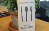 Traditional silverware at Neighbors has been replaced with disposible and compostable cutlery.