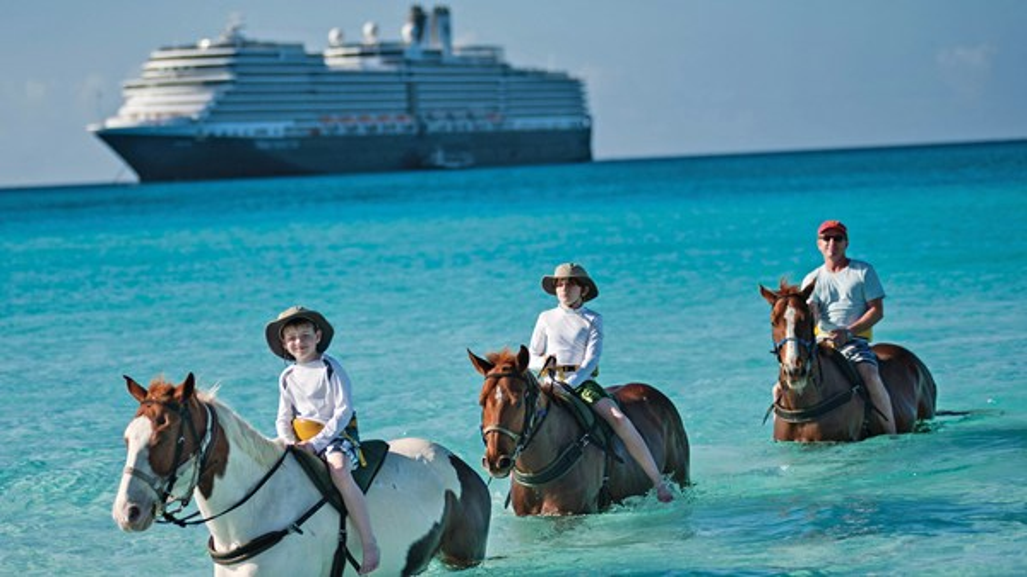 Horseback riding at Half Moon Cay, Holland America Line's island in the Bahamas.