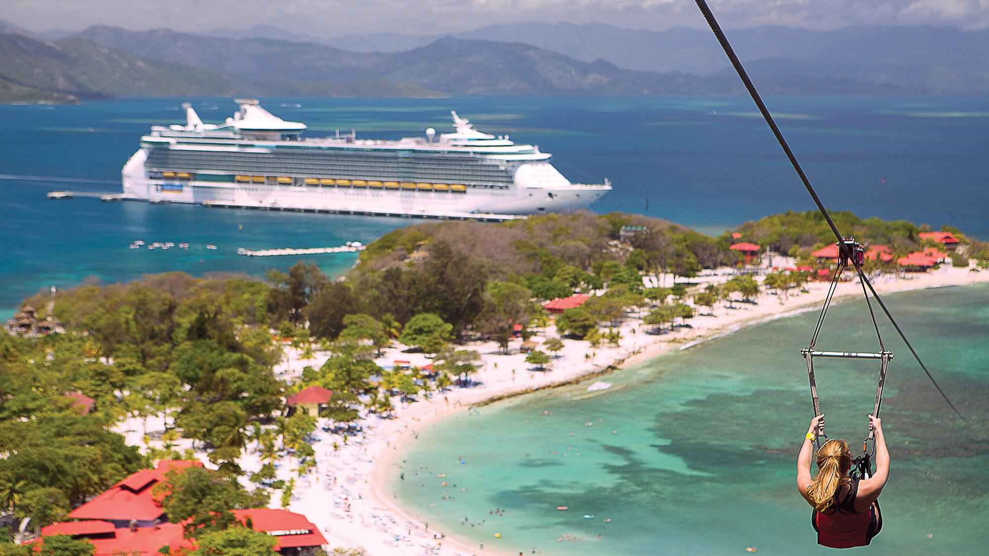 Ziplining on Labadee, Royal Caribbean International's original private destination.