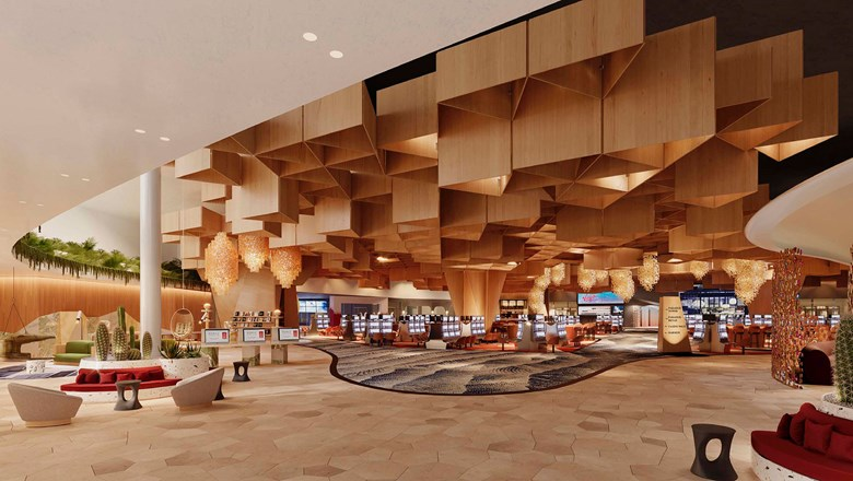 A rendering of the lobby at Mohegan Sun Casino at Virgin Hotels Las Vegas, expected to open in the fourth quarter of this year.