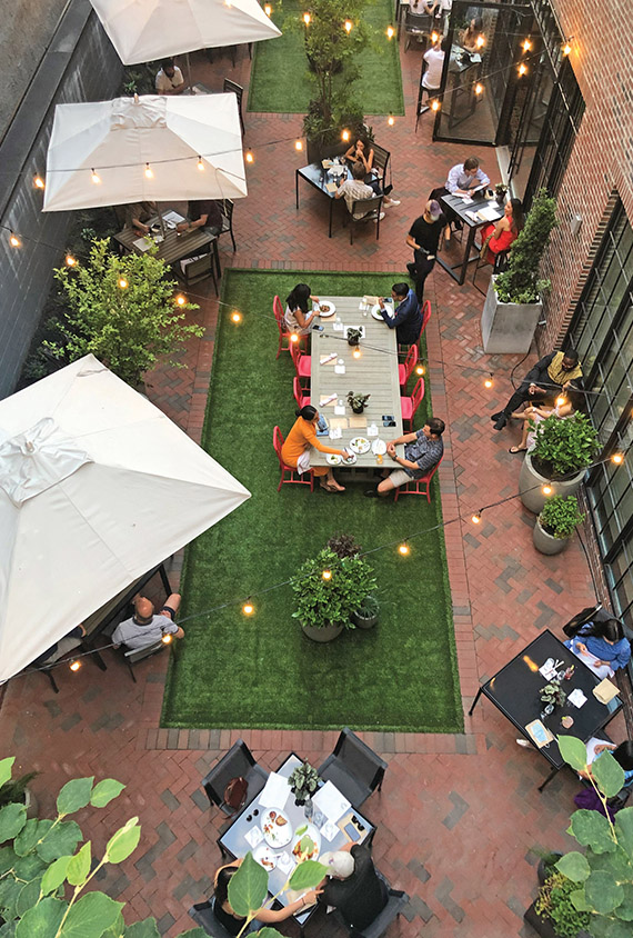 The revamped outdoor garden at the private Fitler Club in Philadelphia.