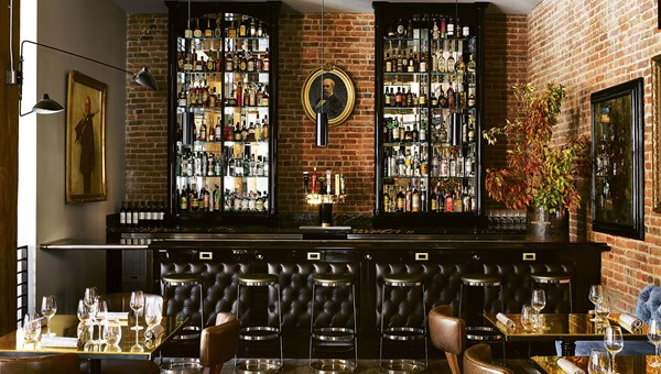 The dining room bar at the Battery, a private social club and hotel in San Francisco.