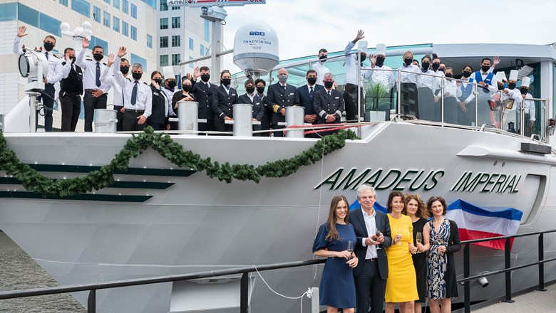 The Lueftner family and the crew of the Amadeus Imperial.