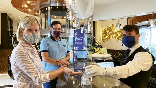 AmaWaterways has added plexiglass shields and more hand sanitizer stations as part of its Covid-10 prevention protocols.
