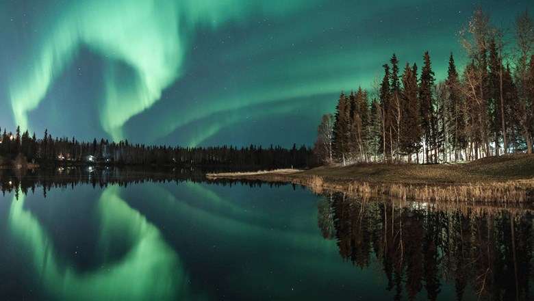 Northern lights over Chena Lake.