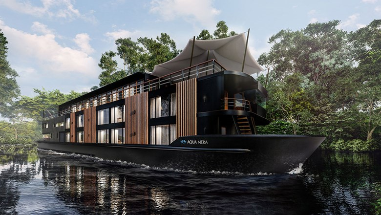 A rendering of Aqua Expeditions' newest ship, the Aqua Nera, which has been completed in Vietnam and is heading to the Peruvian Amazon.