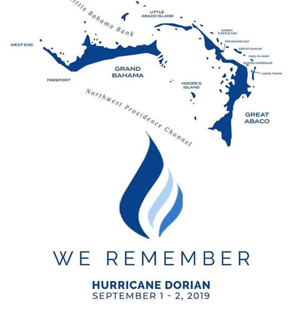 A poster and decal to commemorate the anniversary of Hurricane Dorian making landfall on the Abacos and Grand Bahama Island.