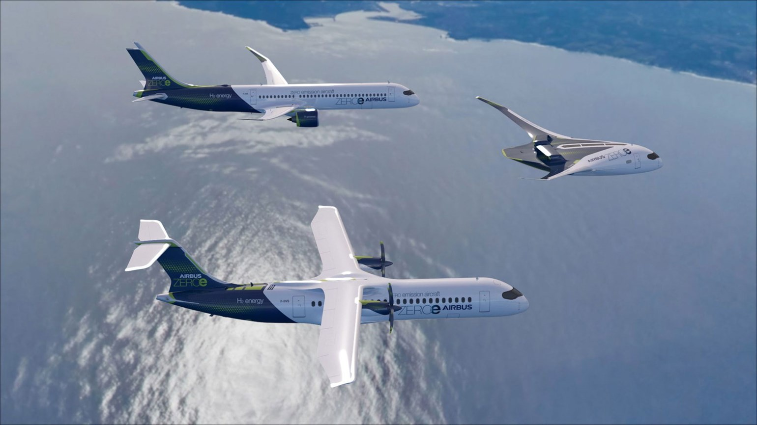Airbus reveals hydrogen-powered aircraft designs