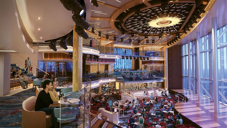 A rendering of the Grand Central atrium of Carnival Cruise Line's Mardi Gras, with its giant, glass-paneled wall.