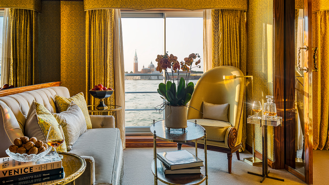 The sitting area in a suite on La Venezia.