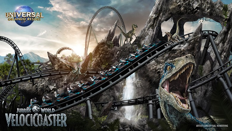 A rendering of the Jurassic World VelociCoaster, slated to open in summer 2021 at Universal Orlando's Islands of Adventure park.