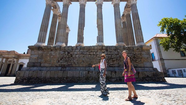 Sheree M. Mitchell (left) and Melanie Wolfram, owner of Vagar Walking Tours, in front of the Roman Temple in Evoral.