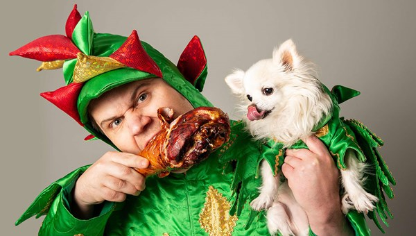 "Piff and his magic dog, Mr. Piffles, perform in ""Piff the Magic Dragon"" at the Flamingo."