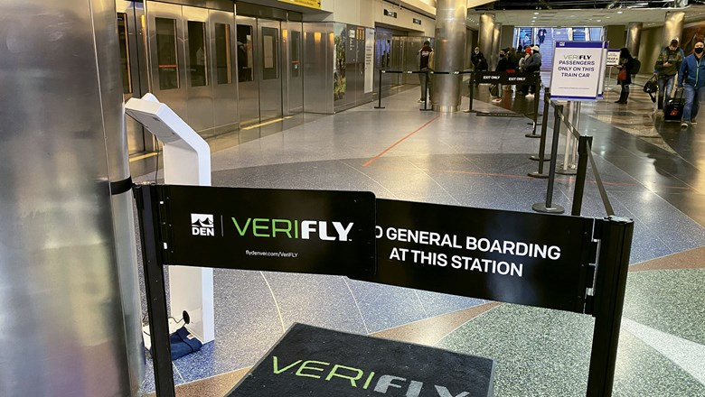 At Denver Airport, Verifly users have a dedicated space to wait for a dedicated car in the train that takes them to other terminals.
