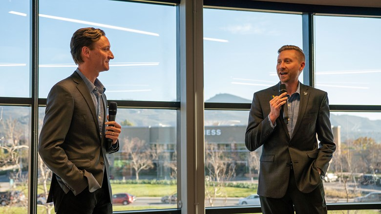 Michael Anderson, left, and Jeff Anderson, co-presidents of Avoya, welcome attendees for the grand opening event of its Innovation Center in southern California at the beginning of 2020.