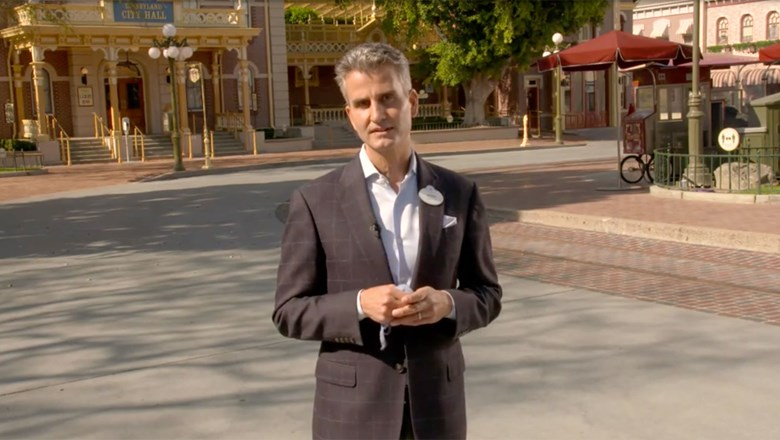 A screenshot of Josh D'Amaro, chairman of Disney Parks, Experiences and Products, who spoke during the International Association of Amusement Parks and Attractions virtual expo.