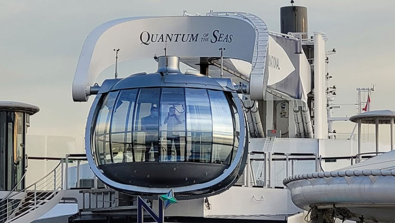 Covid bubble? No, it's the Quantum of the Seas' signature North Star Observation Capsule, during the Singapore sailing.