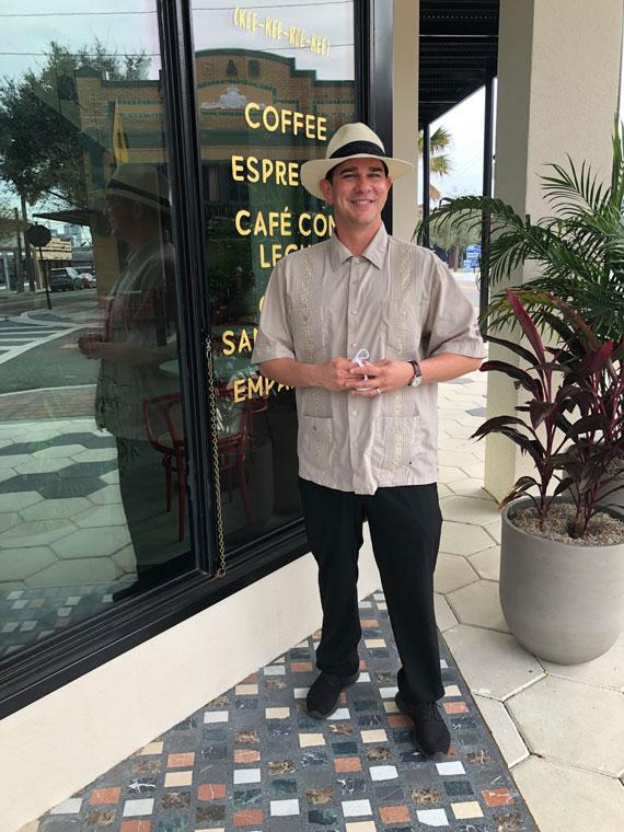Max Herman, of Ybor City Historic Walking Tours, outside the Hotel Haya's QuiQuiRiqui Cafe.