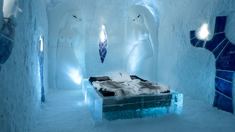 A room at the Icehotel in Sweden.
