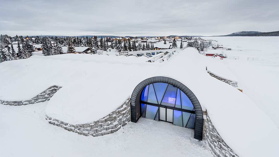 Entrance of the Ice art hall for year-round ice experiences at the Icehotel.