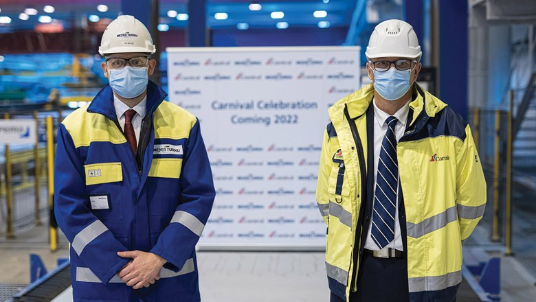 A ceremony to mark the steel cutting was attended by Meyer Turku CEO Tim Meyer, left, and Carnival's senior vice president of newbuilds, Ben Clement.