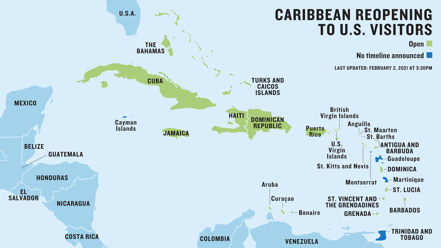 Our map of which Caribbean islands are open or closed to U.S. travelers.