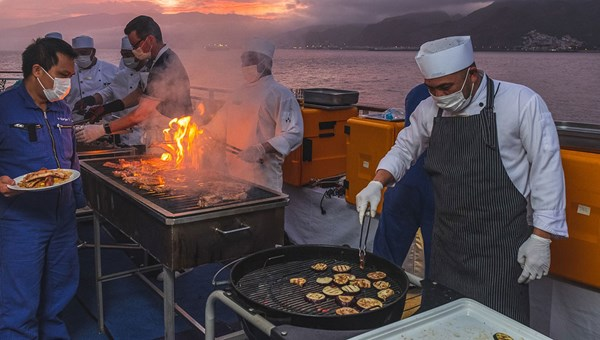 An outdoor BBQ on Hapag-Lloyd's Europa 2, which has been sailing in 2020 from both Germany and in the Canary Islands.