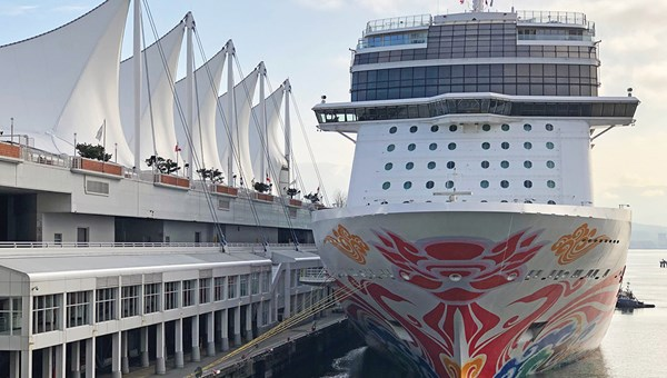 The Norwegian Joy alongside the Canada Place terminal in Vancouver in 2019.
