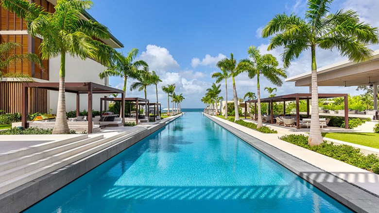 The 300-foot-long pool is a focal point at Silversands Grenada.