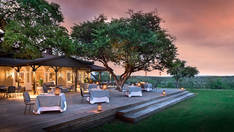 The outdoor lounge area at Kirkman's Kamp in the Sabi Sand Game Reserve in South Africa.