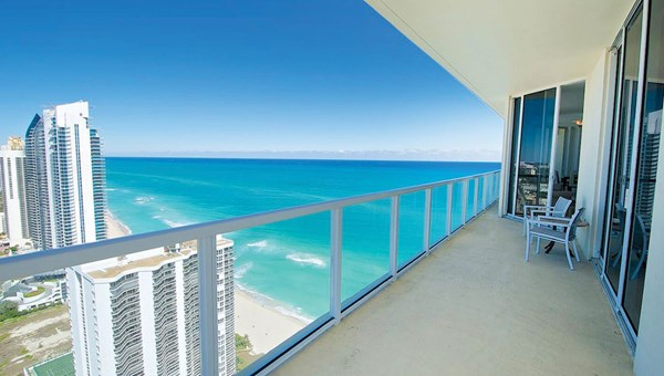 The beachfront balcony view at a Miami accommodation managed by TurnKey Vacation Rentals.