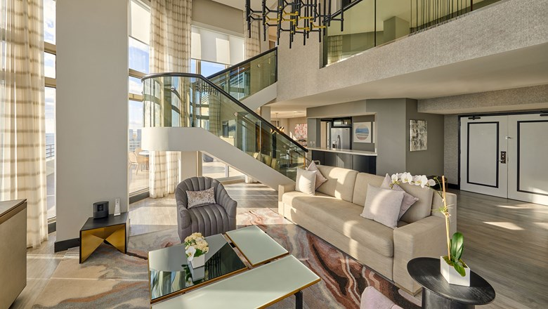A presidential suite accommodation at the Loews Miami Beach Hotel. As part of a new sales and marketing partnership, guests will be able to book the property on Omni Hotels & Resorts booking sites.