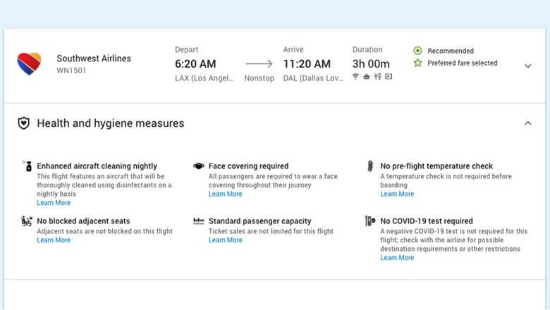 ATPCO has broadened its Routehappy content offerings to include information on whether Covid testing is required prior to boarding a flight (lower right).