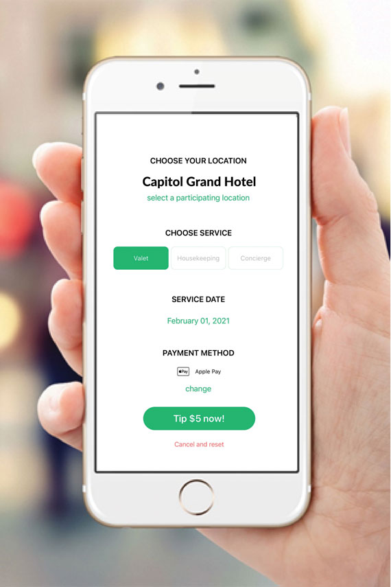 Hotel guests can use Apple Pay or their credit or debit card to tip staff through the TipYo app.