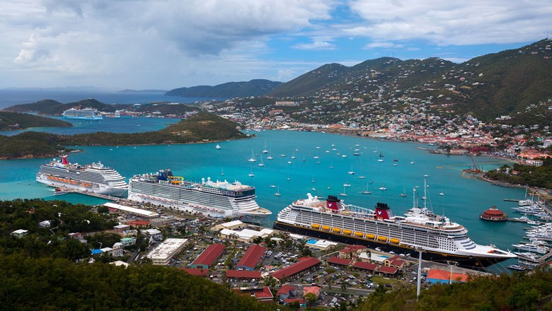 Ships at Charlotte Amalie's cruise port on St. Thomas before the pandemic.