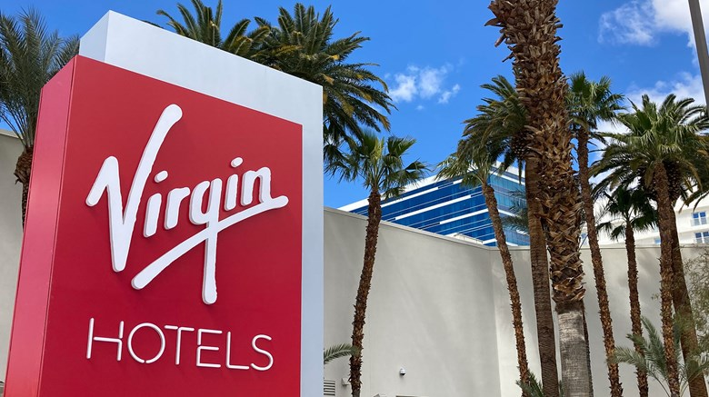 Virgin Hotels Las Vegas, the former Hotel Rock Hotel, is just east of the Strip and near McCarran Airport.