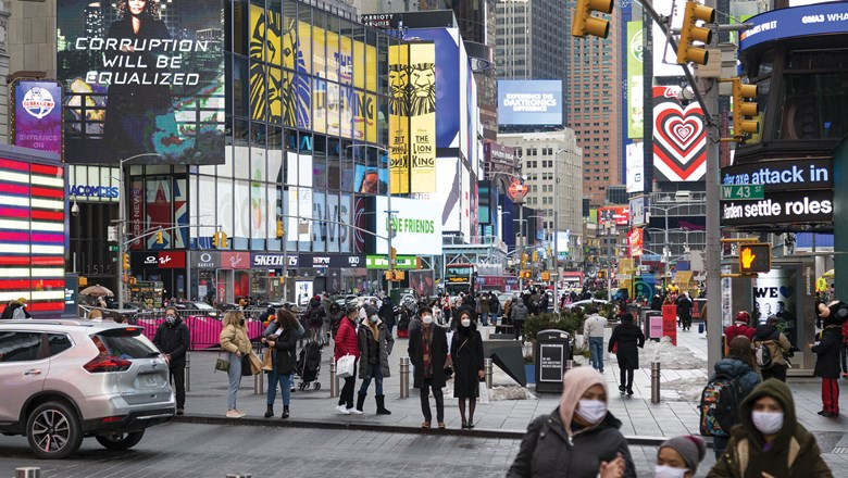 Pedestrian traffic in Times Square reached a high for 2021 on the first weekend of April, according to the Times Square Alliance.