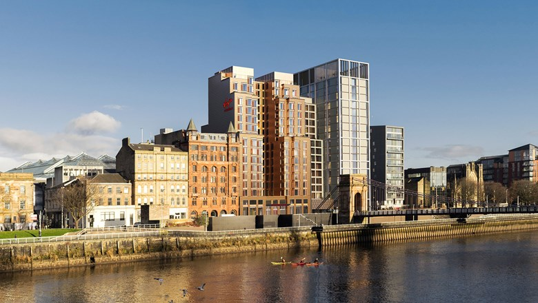 A rendering of the Virgin Hotels Glasgow, which will be situated on the River Clyde in the City Centre district.