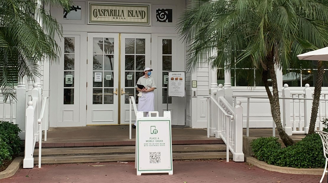 Mobile ordering is encouraged throughout Walt Disney World, such as at the Gasparilla Island Grill at the Grand Floridian hotel.