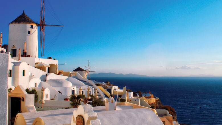 Windmills in Oia, Santorini.