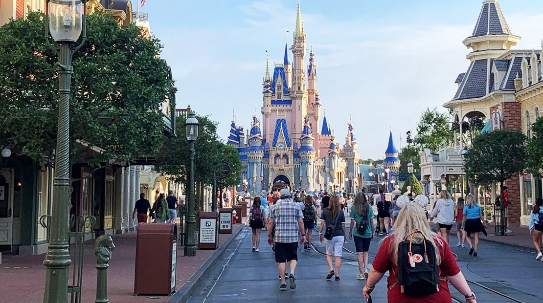 Relatively light crowds on Main Street at Walt Disney World's Magic Kingdom. The Florida parks are operating at 35% capacity.