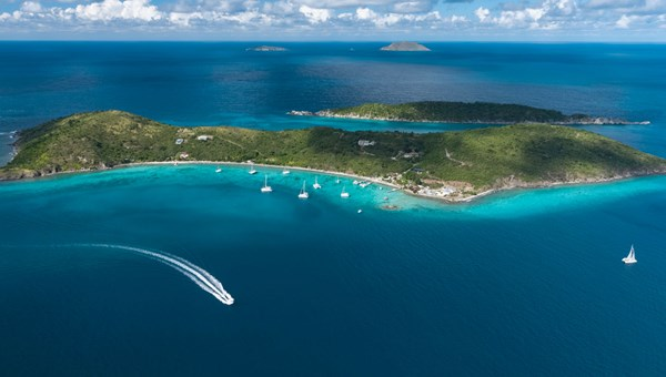 An aerial view of Lovango Cay near St. John, U.S. Virgin Islands.