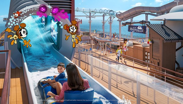The AquaMouse water ride is one of the features that will be debuting on the Disney Wish.