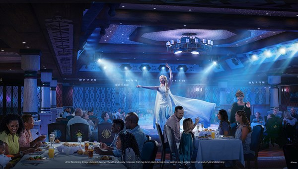 A rendering of the Disney Wish's Frozen Dining Adventure, Disney's first Frozen-themed theatrical dining experience.