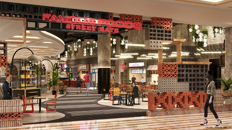 A rendering of Famous Foods Street Eats, which will be reminiscent of an Asian hawker market when it opens at Resorts World Las Vegas.