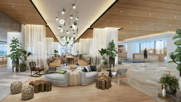 A rendering of Turtle Bay's lobby, which has been opened up to provide more views of the coastline.