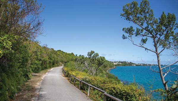 Bermuda's Railway Trail, which runs 18 miles from end to end of the island, follows an abandoned railbed that can be explored by foot or bike only.