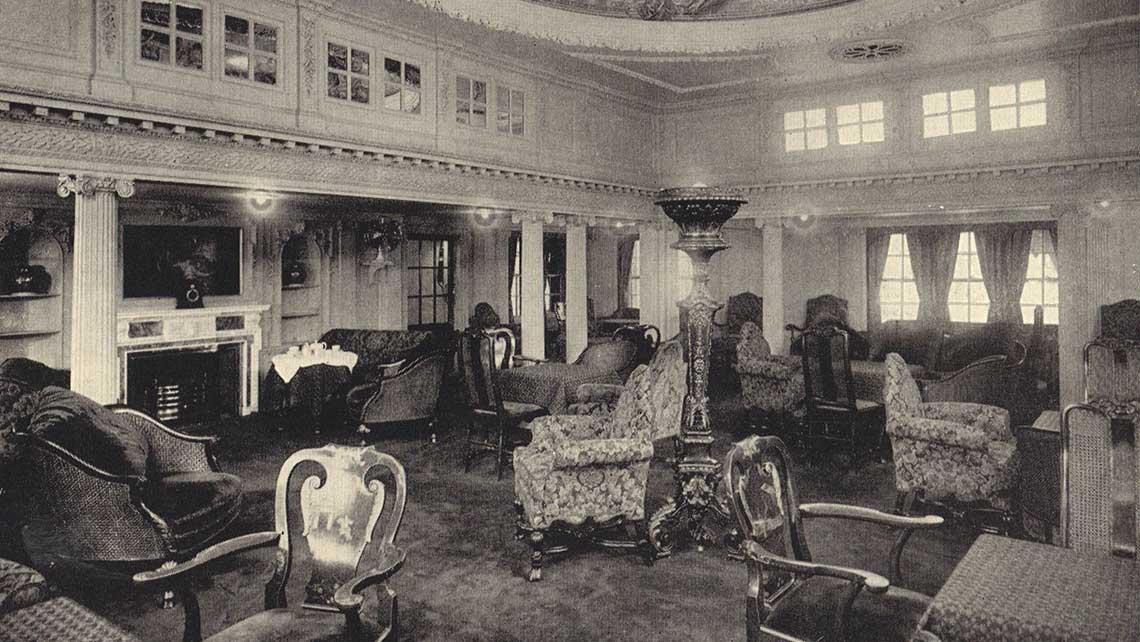 A lounge on the RMS Laconia.