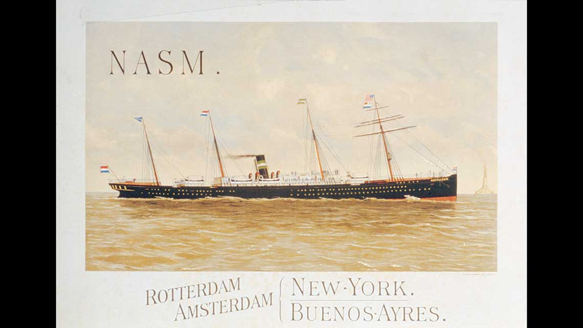 A poster advertising Holland America Line's first ship, the Rotterdam, which sailed its maiden voyage from the Netherlands to New York on Oct. 15, 1872, and led to the founding of the company on April 18, 1873. The ship cost 30,000 pounds in 1872, the equivalent of $4.9 million today, and that first voyage carried only 70 passengers and 600 tons of cargo.